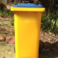 yellow and blue bin