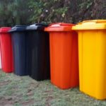 Wheelie bins in seven standard colours.