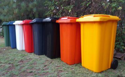 Wheelie bins in seven standard colours.