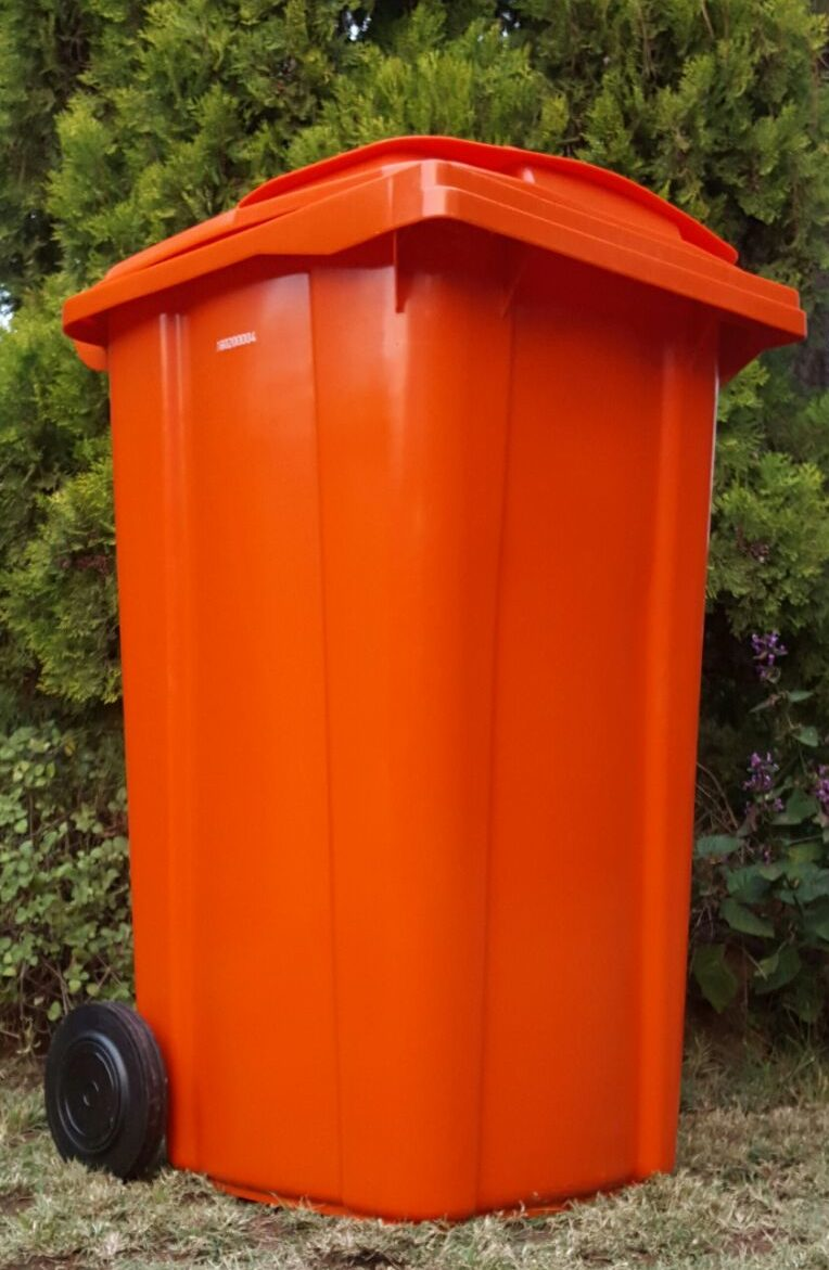 240L ORANGE WHEELIE BIN